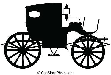 antigas, carruagem, silueta