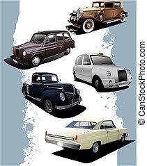 antigas, cars., ilustração, vetorial, cinco, retro.