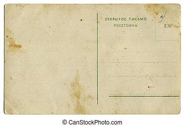 antigas, cartão postal, costas, um, ano, cem