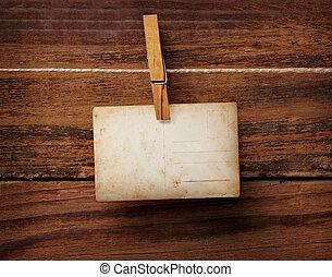 antigas, cartão postal, foto, madeira, cavilha, roupas