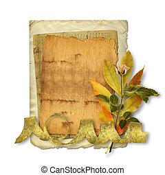 antigas, cartão postal, fundo, parabéns, flores brancas,...