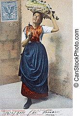 antigas, cartão postal, neapolitan, traje