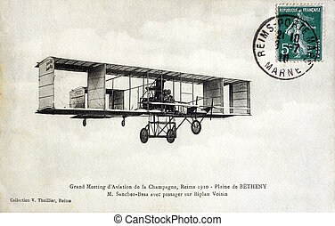 antigas, cartão postal, reims, 1910, planície, betheny,...