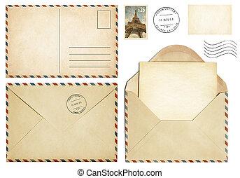antigas, cartão postal, selo, envelope, cobrança, correio, letra, abertos