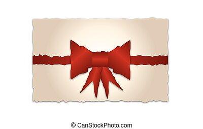 antigas, cartão presente, com, fita vermelha, e, arco, vetorial, ilustração