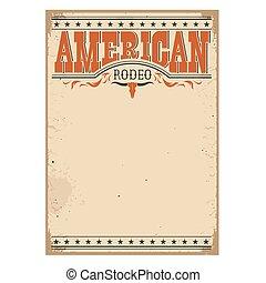 antigas, cartaz, americano, textura, rodeo, papel, texto
