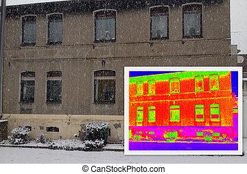 antigas, casa, com, um, térmico, imaging