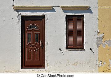 antigas, casa, em, grego, style.
