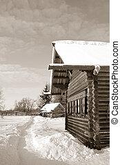 antigas, casa madeira, sepia, vila