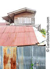 antigas, casa madeira, tailandês, estilo