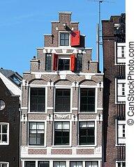 antigas, casas, em, amsterdão