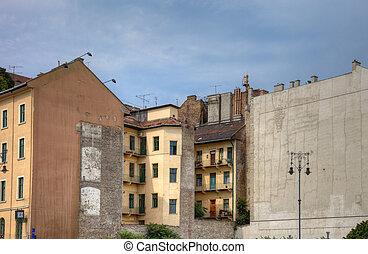 antigas, casas, em, centro, de, budapest, hungria, europe.