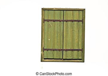 antigas, casement, detalhe, wall., janela, facade., verde, close-up., branca