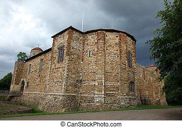 antigas, castelo, em, colchester, 11º século, normando,...
