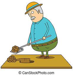 antigas, cavando, homem gordo