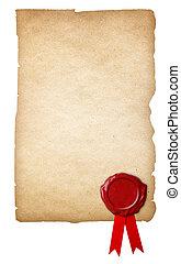 antigas, cera, isolado, papel, fundo, selo, fita branca