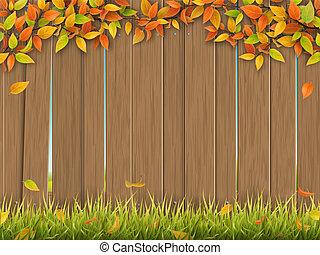 antigas, cerca, madeira, árvore, outono, capim