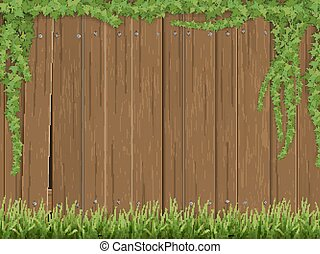 antigas, cerca, madeira, fundo, capim, hera