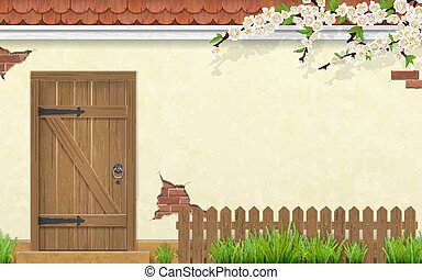 antigas, cerca, madeira, ramo, fachada, porta, capim
