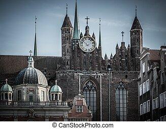 antigas, cidade, sobre, catedral,  Gdansk, Polônia, vista