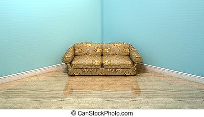 antigas, clássicas, sofá, um quarto