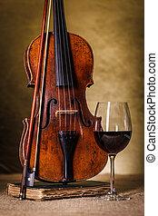 antigas, clássico, vidro, violino, vinho tinto