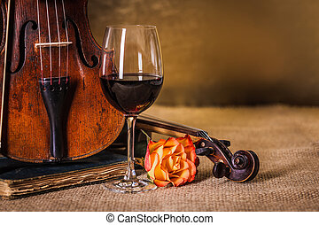 antigas, clássico, violinos, detalhe, vidro vinho vermelho