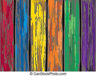 antigas, colorido, cerca, madeira, experiência., vetorial