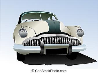 antigas, colorido, vindima, ilustração, vetorial, carro., desenhistas