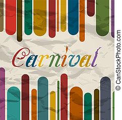 antigas, coloridos, carnaval, festival, texto, cartão