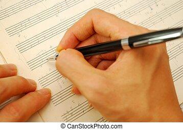 antigas, compondo, música, manuscrito