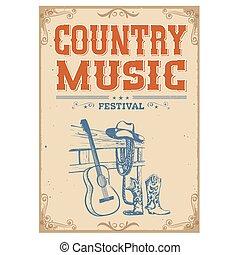 antigas, concerto, boiadeiro, vindima, guitarra, americano, papel, música, fundo, cartaz, sapatos