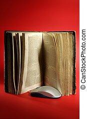 antigas, conhecimento, computador, envelhecido, tecnologia, livro