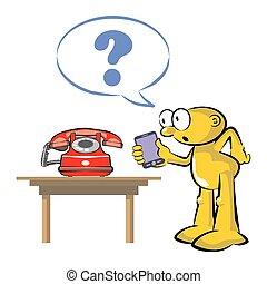 antigas, corrente, telefone, celular, tecnologia, vermelho