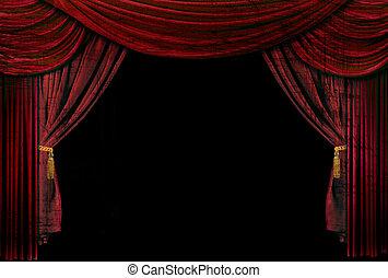 antigas, cortinas, elegante, teatro, formado, fase