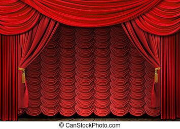 antigas, cortinas, elegante, teatro, formado, vermelho, fase
