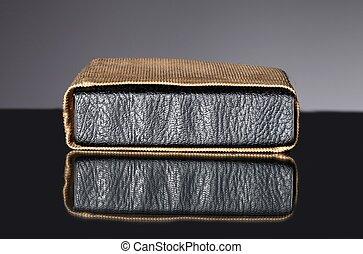 antigas, couro, vindima, cobertura, saco, livro