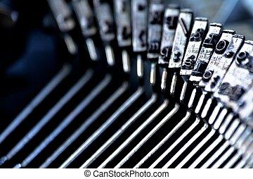 antigas, cu, formado, máquina escrever