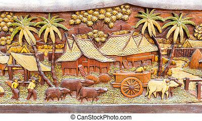 antigas, cultura, madeira, sujo, tailandês, esculpido