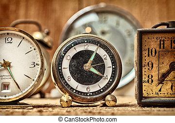 antigas, despertadores, retro, denominado, imagem