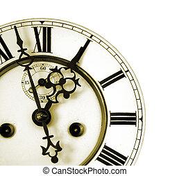 antigas, detalhe, relógio