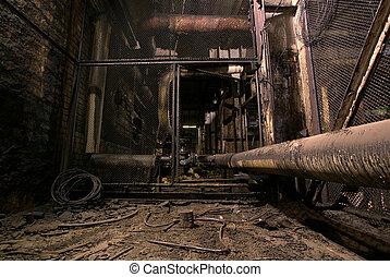 antigas, deteriorar, fábrica, arrepiado, escuro, sujo