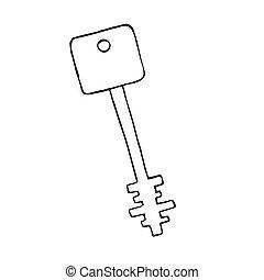 antigas, doodle, objeto, isolado, vetorial, tecla