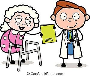 antigas, doutor, dar, médico, -, ilustração, vetorial, relatório, profissional, senhora, caricatura