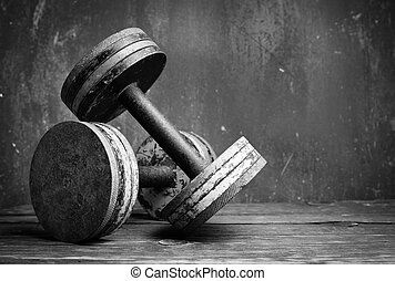 antigas, dumbbells, bw, foto
