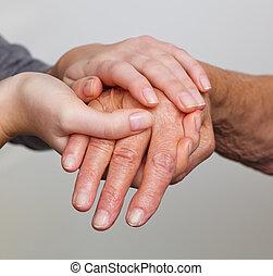 antigas, e, jovem, mão, com, bengala