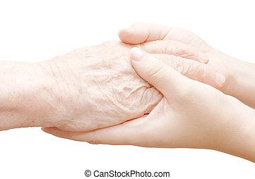antigas, e, jovem, mãos, isolado, branco