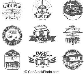 antigas, elements., logotype., desenho, hélice, óculos proteção, logotipo, avião, remendos, vindima, isolated., selos, retro, labels., ícone, avião, aviação, mosca, emblemas, airshow, collection., vetorial, biplano, emblems.