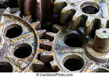 antigas, enferrujado, engrenagens, maquinaria, partes, closeup