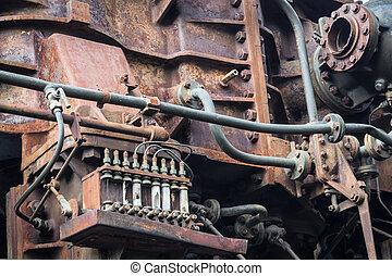 antigas, enferrujado, machine., metal enferrujado
